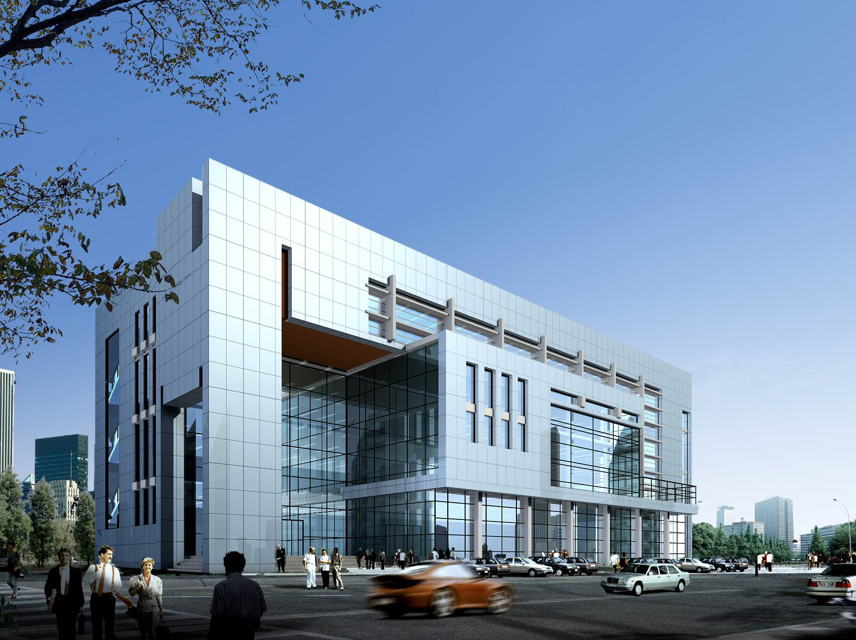 Shopping mall office building 3d model max 3ds for Modern office building exterior design