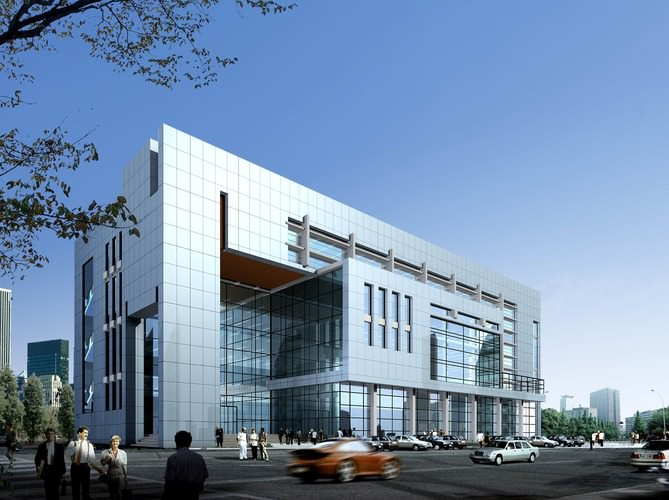 3d model shopping mall office building cgtrader for Modern office exterior design