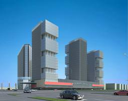 3d model commercial towers with designer exterior