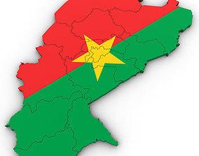 3d Political Map of Burkina Faso