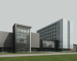 3d commercial complex with designer exterior