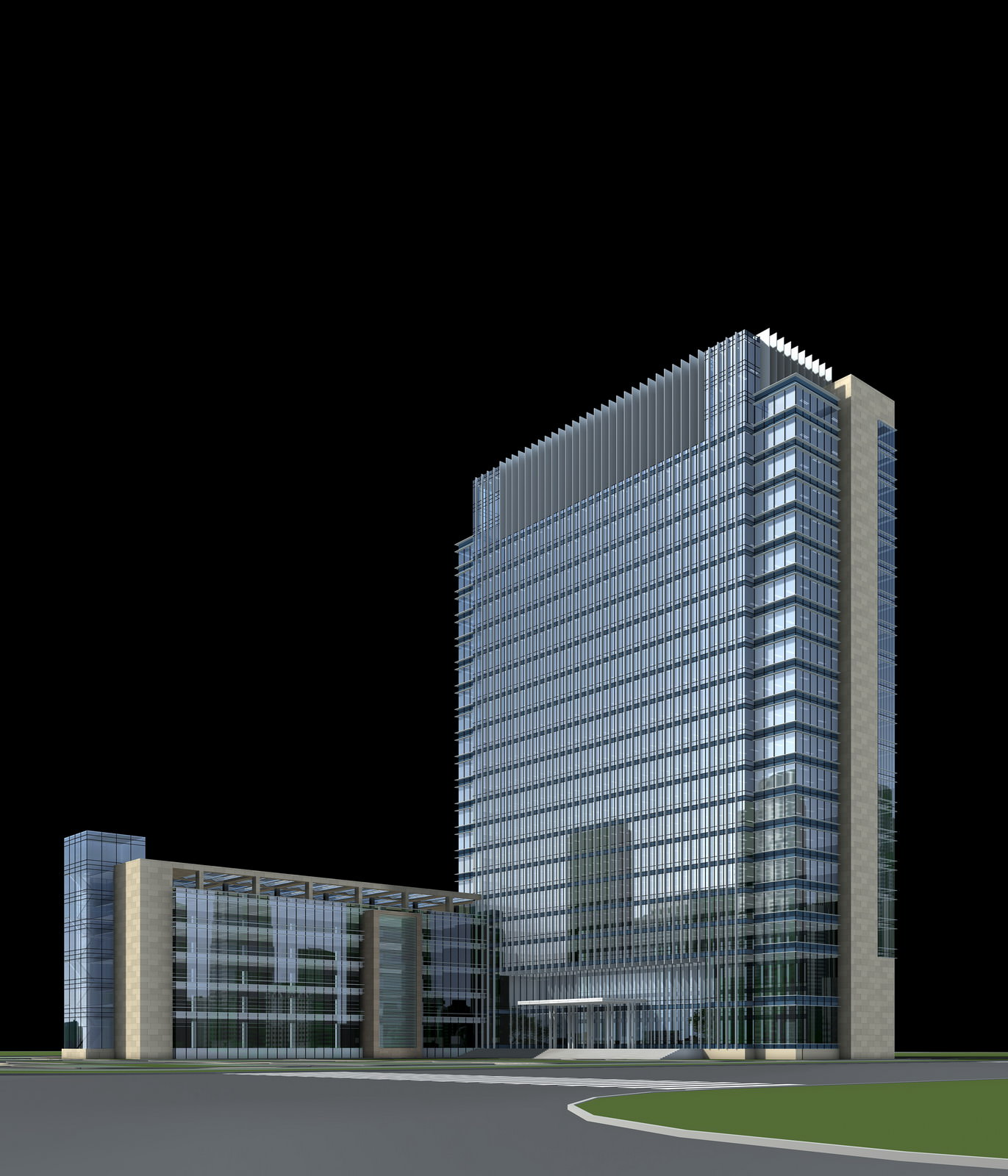 Modern commercial complex with glass exterior 3d model for Exterior 3d model