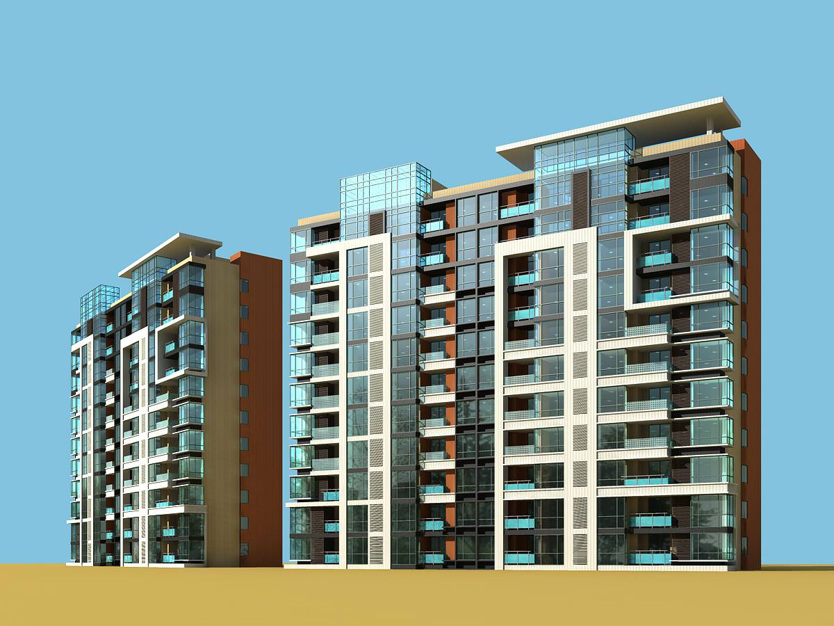 Apartment buildings 3d model max for Apartment 3d model