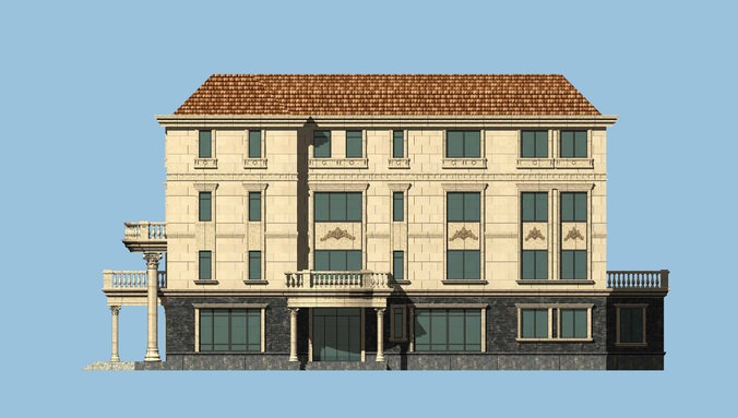 Palatial house infrastructure 3d model max 3
