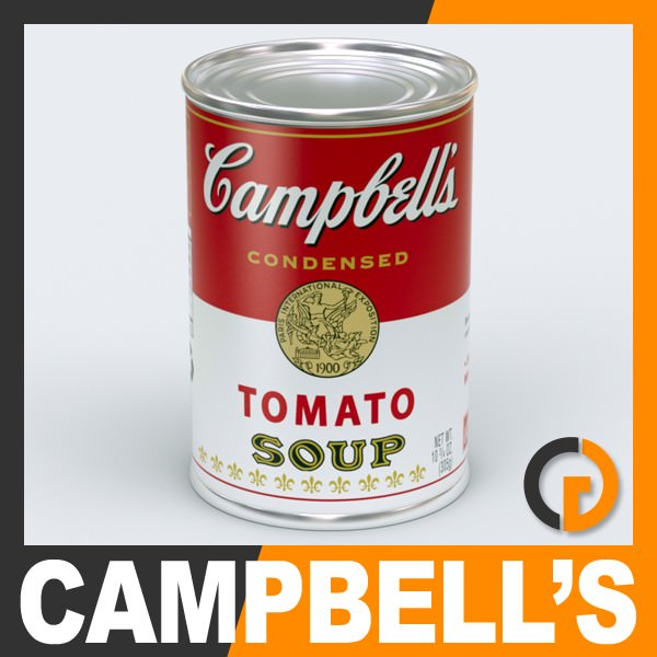 campbell s tomato soup can 3d model max obj 3ds fbx c4d lwo lw lws. Black Bedroom Furniture Sets. Home Design Ideas