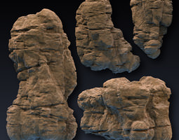 3D model Rock Face Cliff Blocks 02