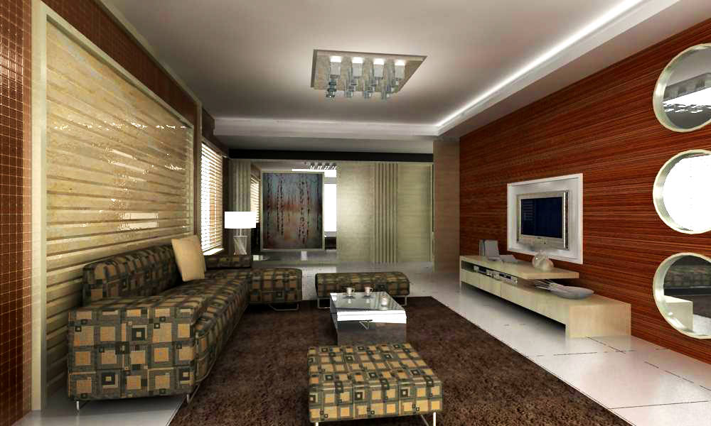 Living Room With Designer Sofa 3d Model Max