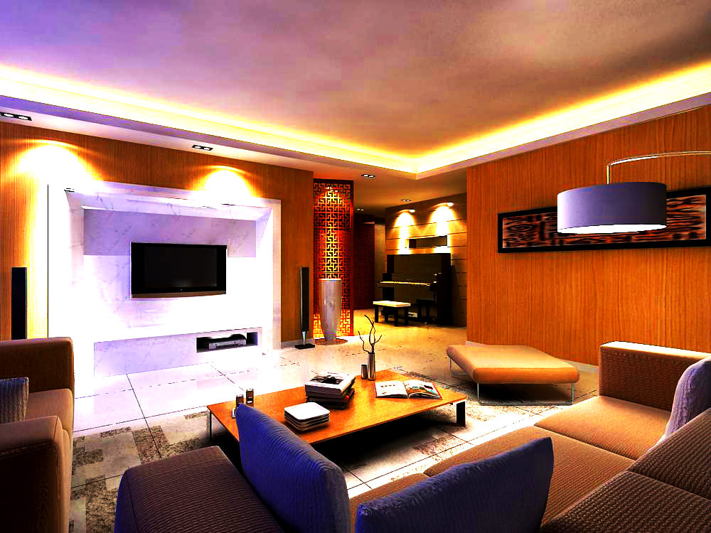 Living hall with exquisite decoration 3d model max for Living hall decoration