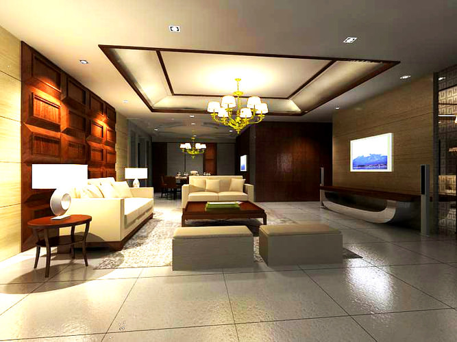 Living hall with wooden decoration 3d model cgtrader for Living hall decoration