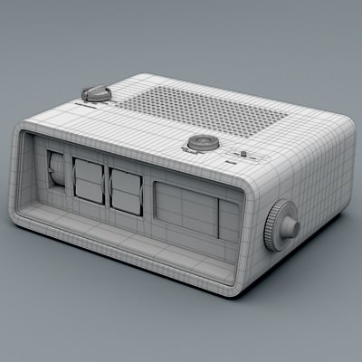 retro style radio alarm flip clock 3d model max obj 3ds fbx c4d lwo lw. Black Bedroom Furniture Sets. Home Design Ideas