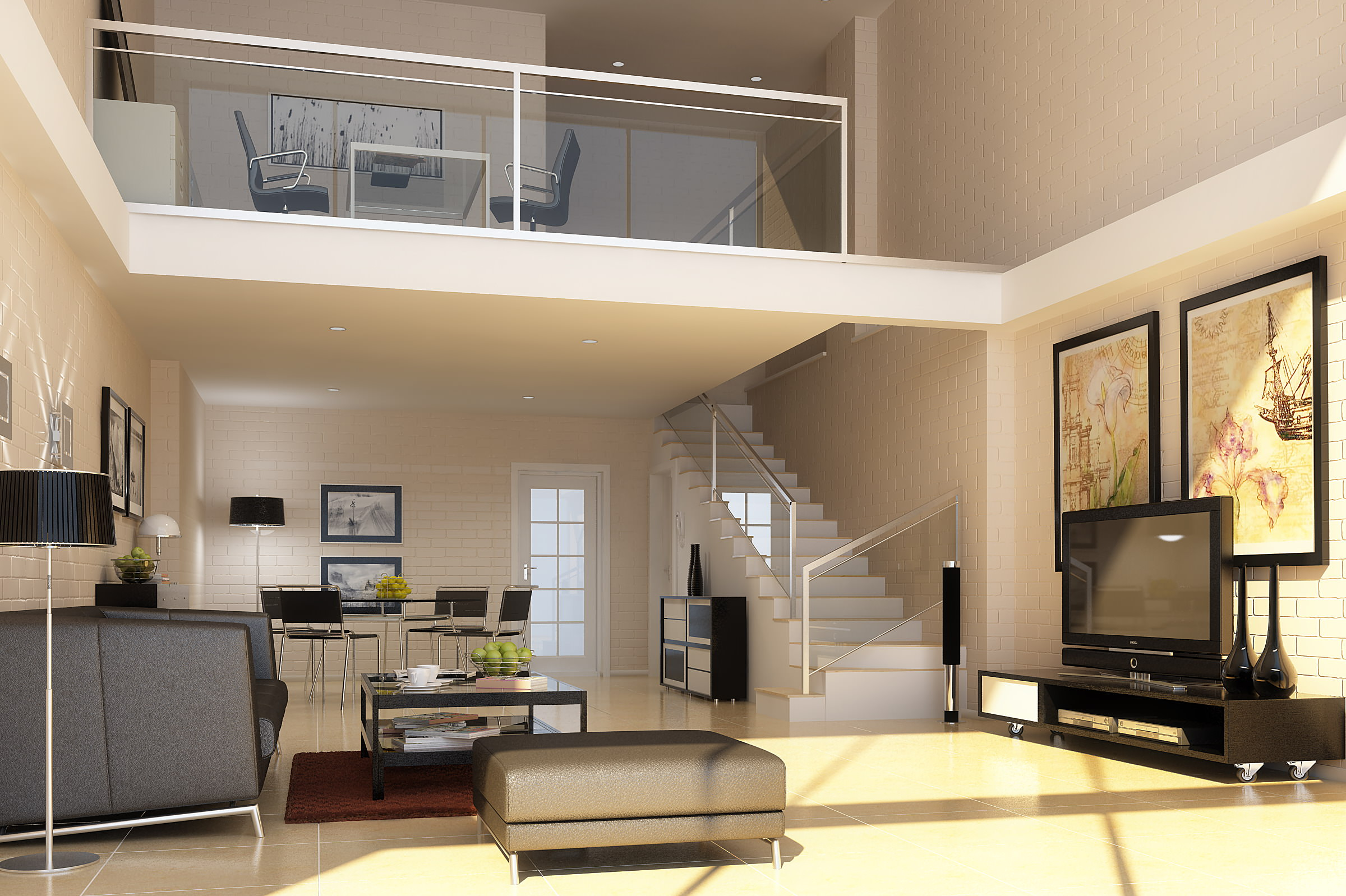 Posh living space with sofa and tv 3d model max - Sofas small spaces model ...