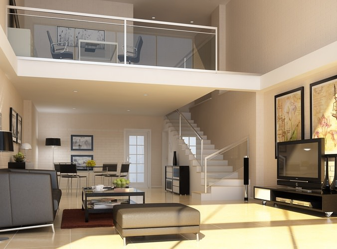 Posh Living Space with Sofa and TV3D model