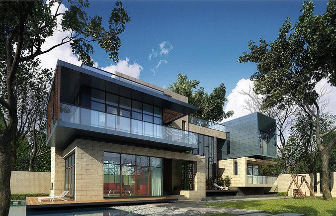 3d villa 028 cgtrader for Villas 3d model