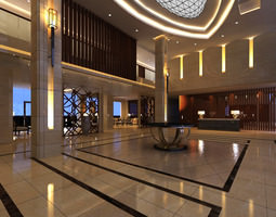 3d spacious lobby with spot lights
