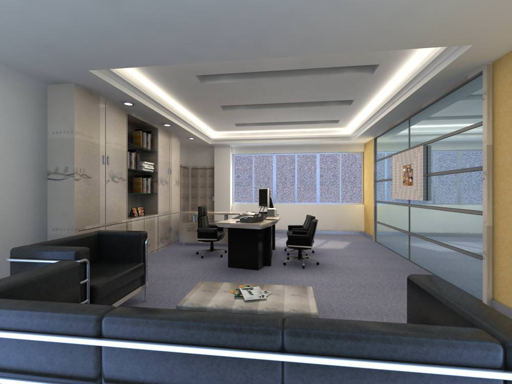 grand office space with designer walls 3d model max
