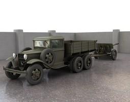 GAZAAA truck with antitank gun ZiS3 3D