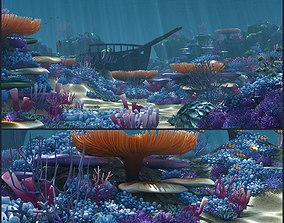 3D model animated Cartoon Underwater