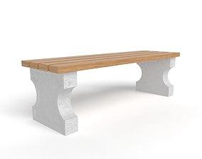 3D model Bench with concrete legs