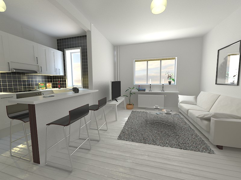 Kitchen living room 3d model max for Kitchen room model