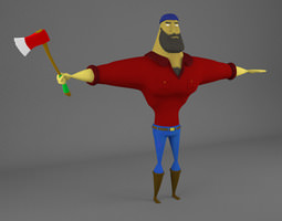 animated 3d ricardo the lumberjack - fully rigged