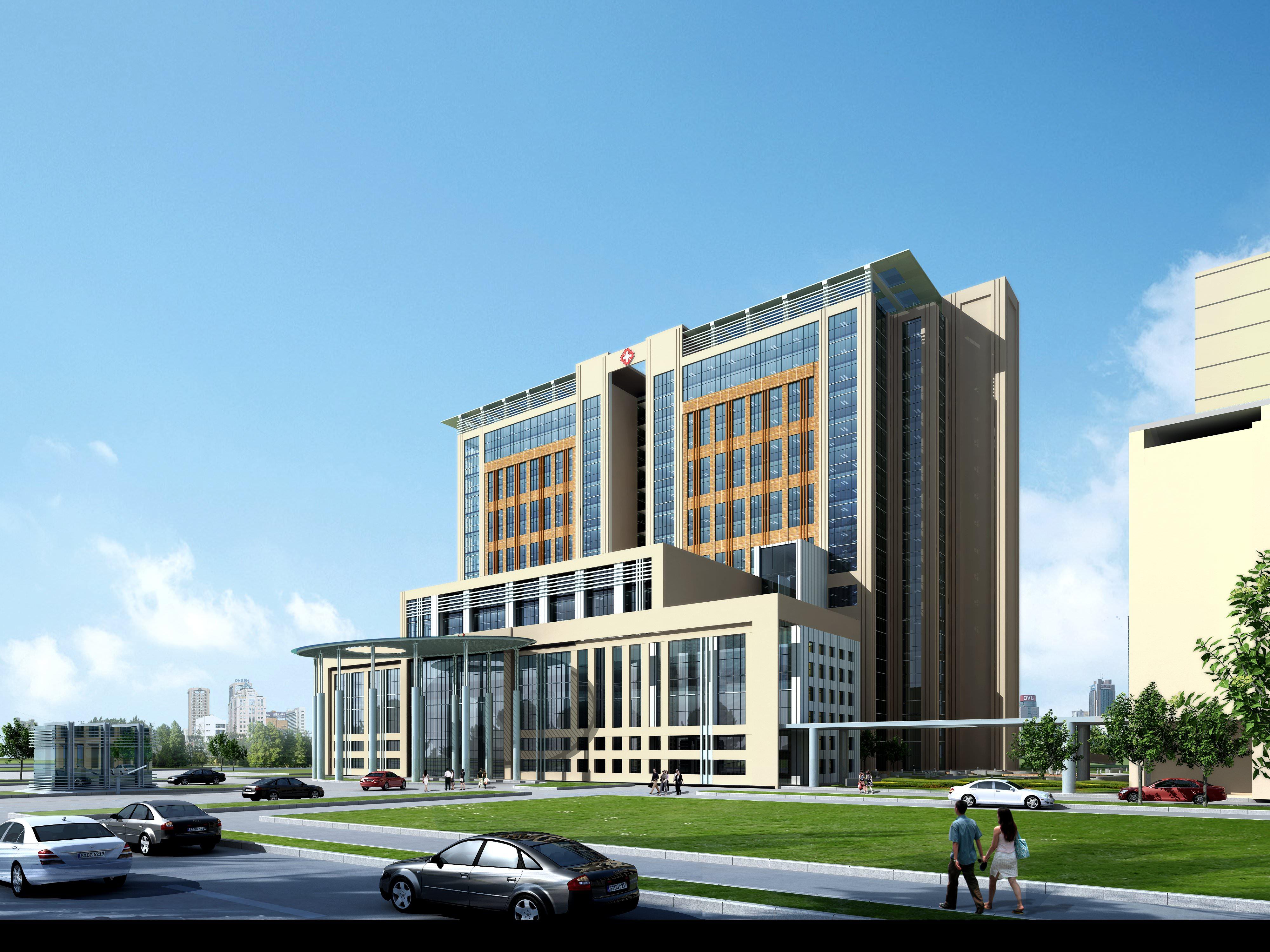 Modern hospital 3d model max for Modern hospital building design