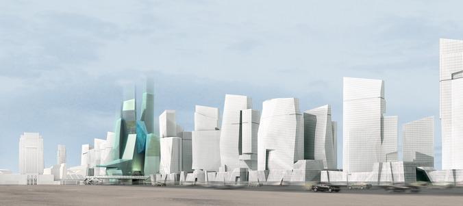 Modern cityscape with futuristic building3D model