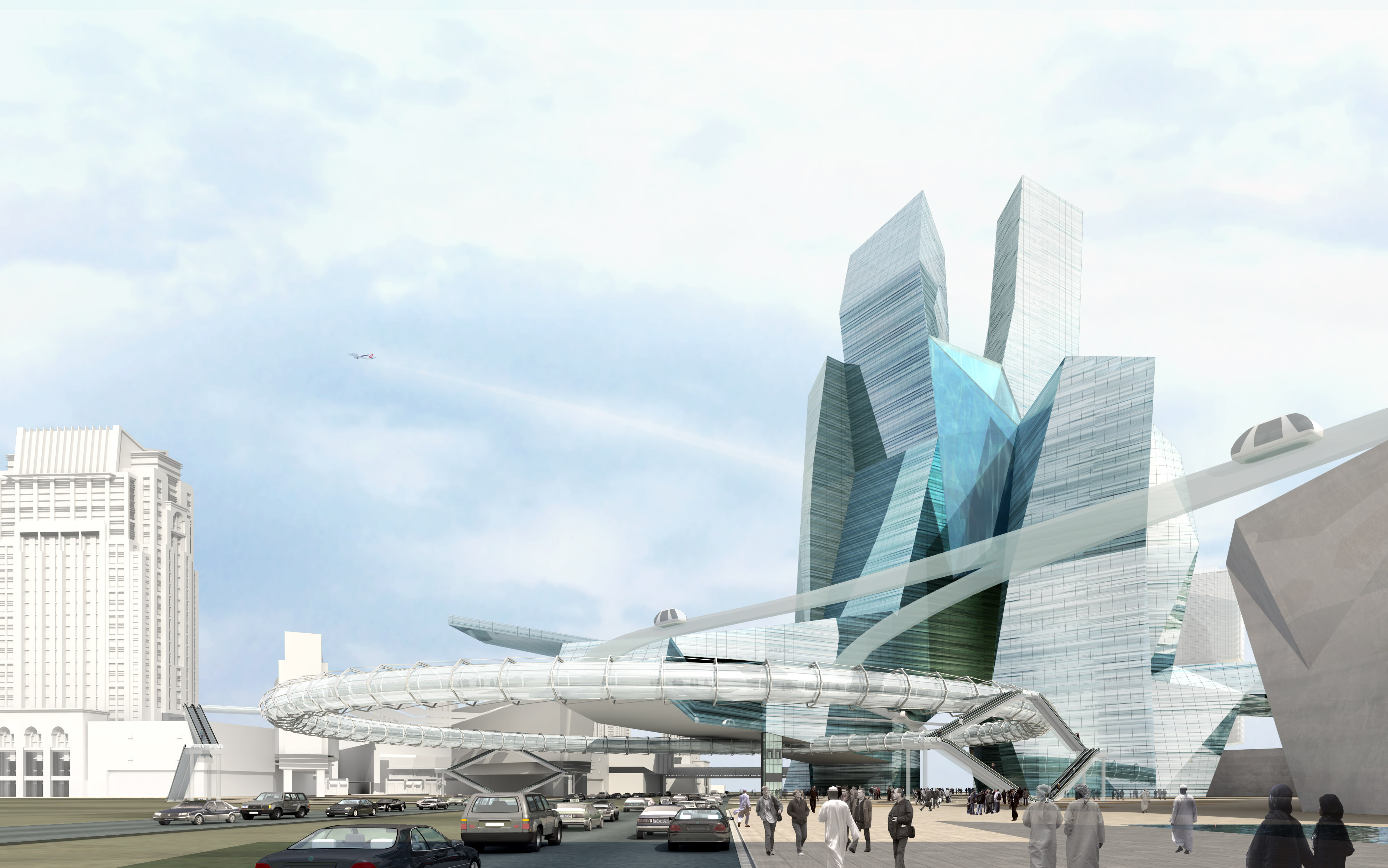 Modern cityscape with futuristic building 3d model max for Architecture et construction 3d