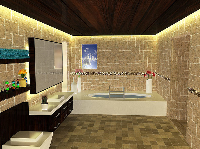 3d model interior bathroom designs cgtrader for New model bathroom design