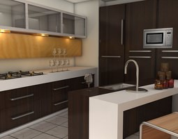 modular kitchen 3D asset