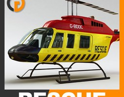 Helicopter - Rescue Bell 206L with Interior 3D Model