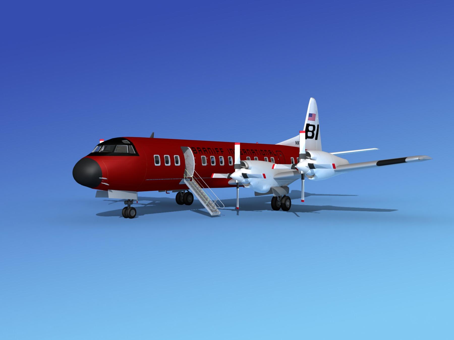 Lockheed L-188 Electra HP Braniff Intl 5 | 3D model