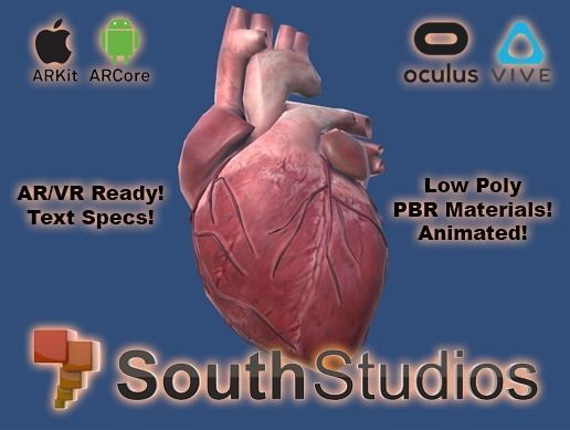 animated heart ar vr unity 3dsmax 3d model low-poly rigged animated max obj unitypackage 1