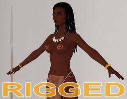 T pose rigged model of tribal girl Ashuna 3D