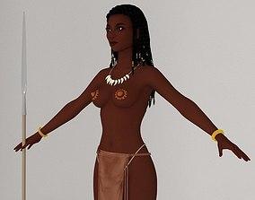 rigged T pose nonrigged model of tribal girl Ashuna