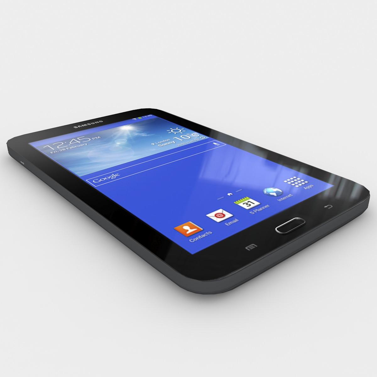 Samsung galaxy tab 3 lite 7 0 black 3d model max 3ds fbx lwo lw lws ma mb lxo lxl - Samsung galaxy tab 4 lite ...