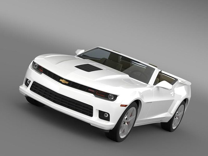 White Chevrolet Camaro Ss Convertible 2014 3d Model Max