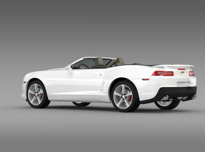White Chevrolet Camaro Ss Convertible 2014 3d Model Max