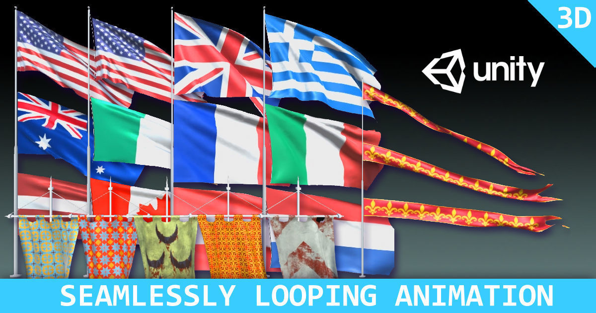 Animated Flags and Banners | 3D model