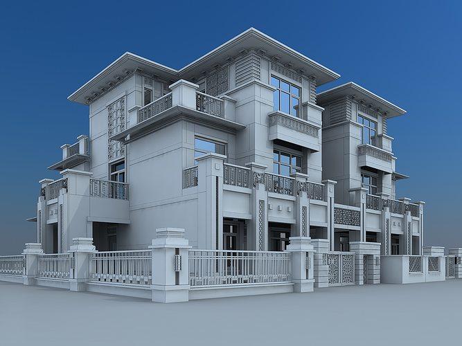 3d model villa building cgtrader for Model villa moderne