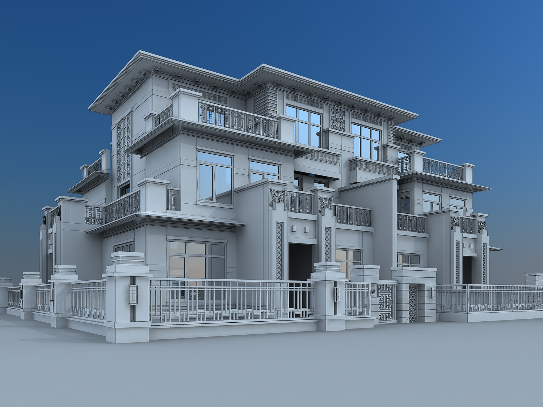 Villa building 3d model max for Model villa moderne