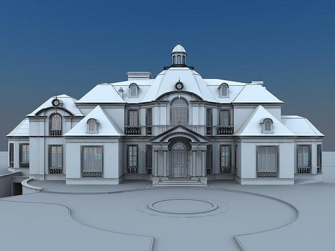 French villa 3d model cgtrader for Villas 3d model