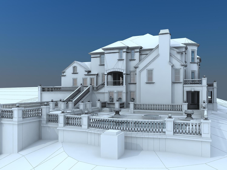 The villa has a swimming pool 3d model max for Villas 3d model