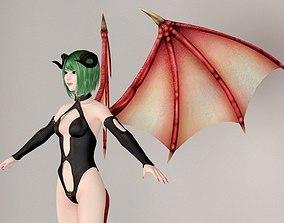 3D T pose nonrigged model of succubus girl Leila