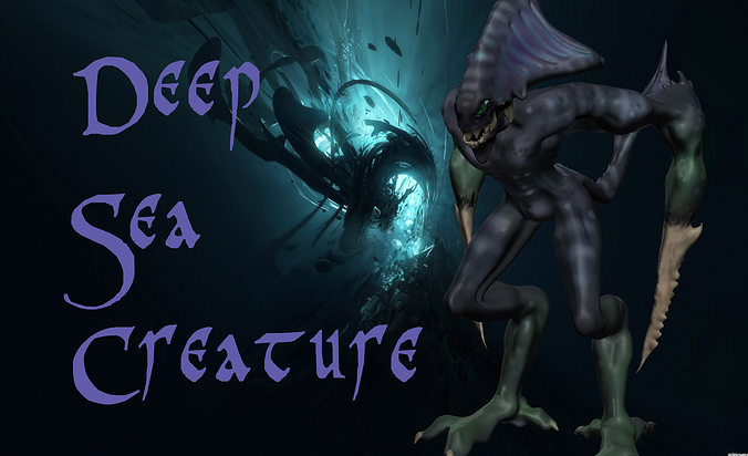 deep-sea-creature 3d model low-poly obj mtl 1