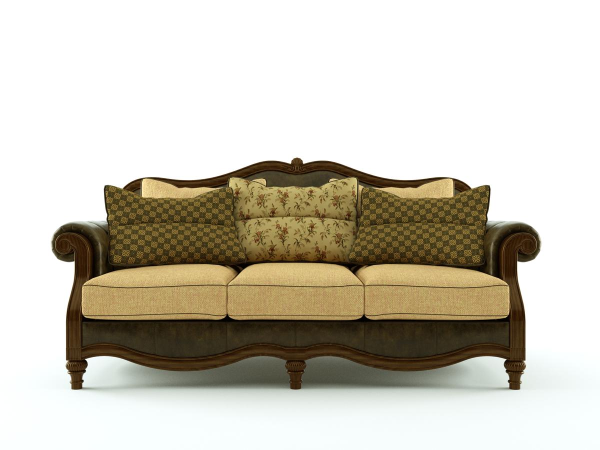 Ashley claremore antique sofa 3d model skp for Divan furniture models