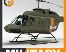 helicopter - military bell 206l with interior 3d model max obj 3ds fbx c4d lwo lw lws