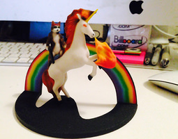 3d printable model cat with gun riding firebreathing laser unicorn and rainbow