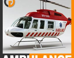 Helicopter - Ambulance Bell 206L with Interior 3D Model