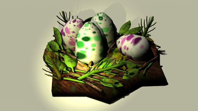 dinosaur nest eggs 3d model obj fbx 1