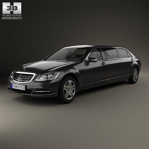3d model mercedes benz s class w221 pullman 2012 for Mercedes benz 2012 models